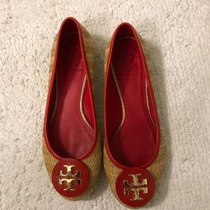 Tory Burch Flats- dark pink and straw colored
